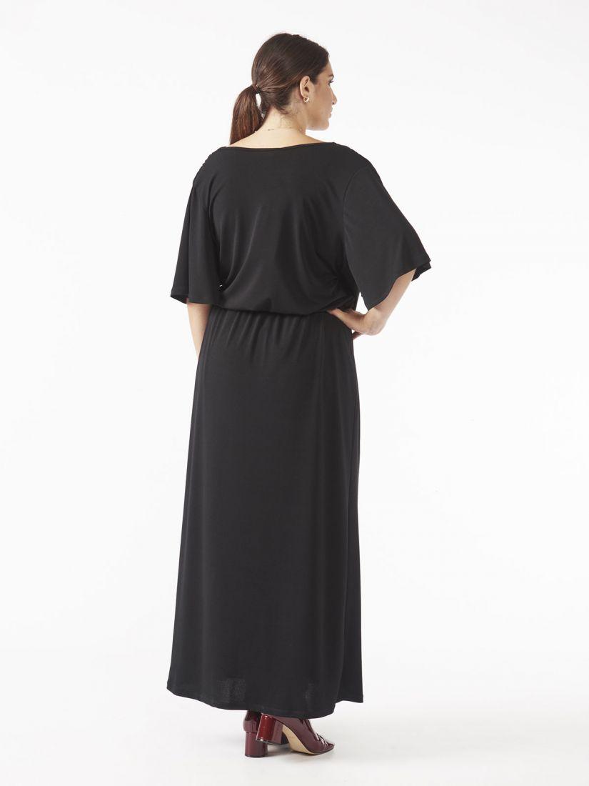 Φόρεμα μακρύ ελληνικής ραφής κρουαζέ με ζώνη μαύρο