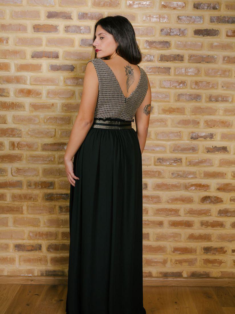 Φόρεμα μακρύ ελληνικής ραφής με μπούστο χρυσοκλωστή μαύρο