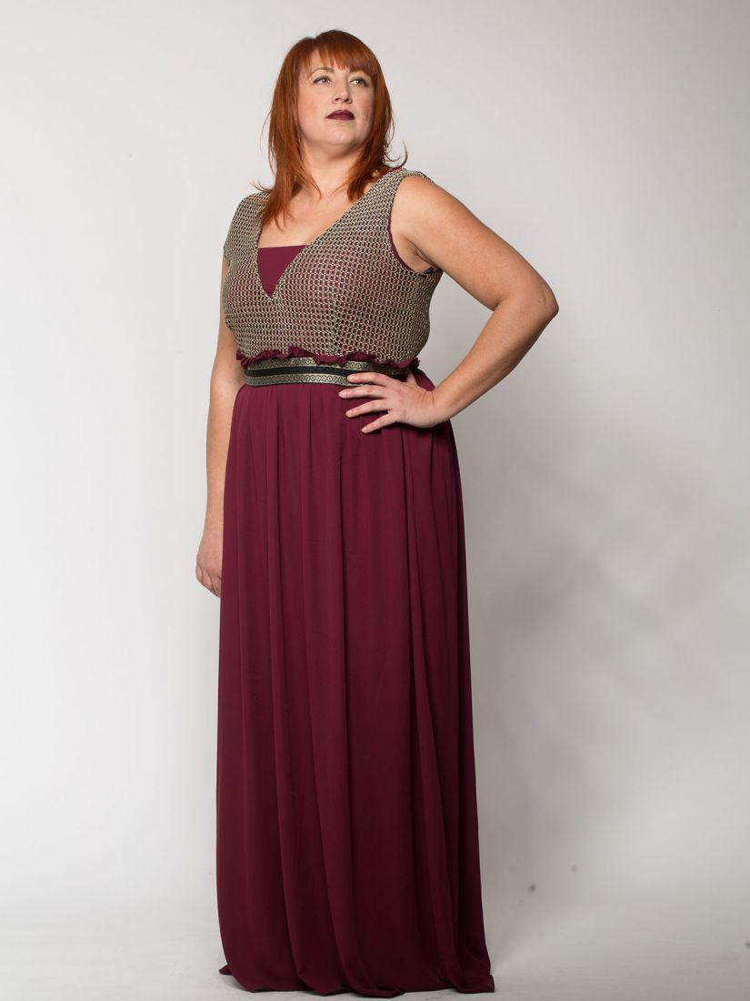 Φόρεμα μακρύ ελληνικής ραφής με μπούστο χρυσοκλωστή μπορντώ