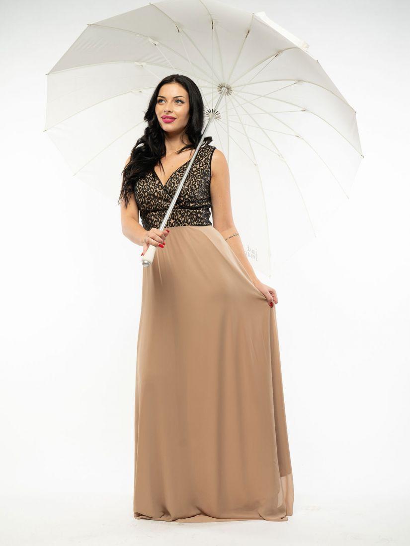 Φόρεμα ελληνικής ραφής με μπούστο δαντέλα κρουαζέ μαύρο