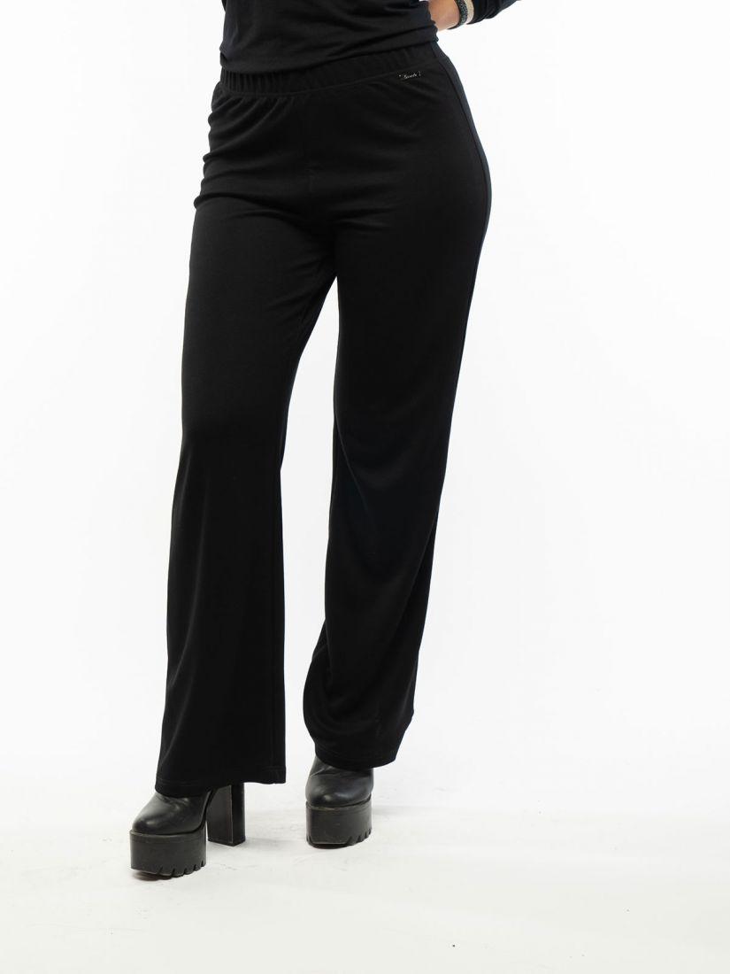 Παντελόνα ελληνικής ραφής μονόχρωμη με λάστιχο μαύρο