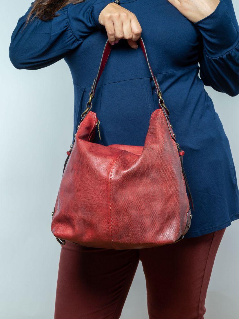 Τσάντα με κροκό λεπτομέρειες μπορντώ
