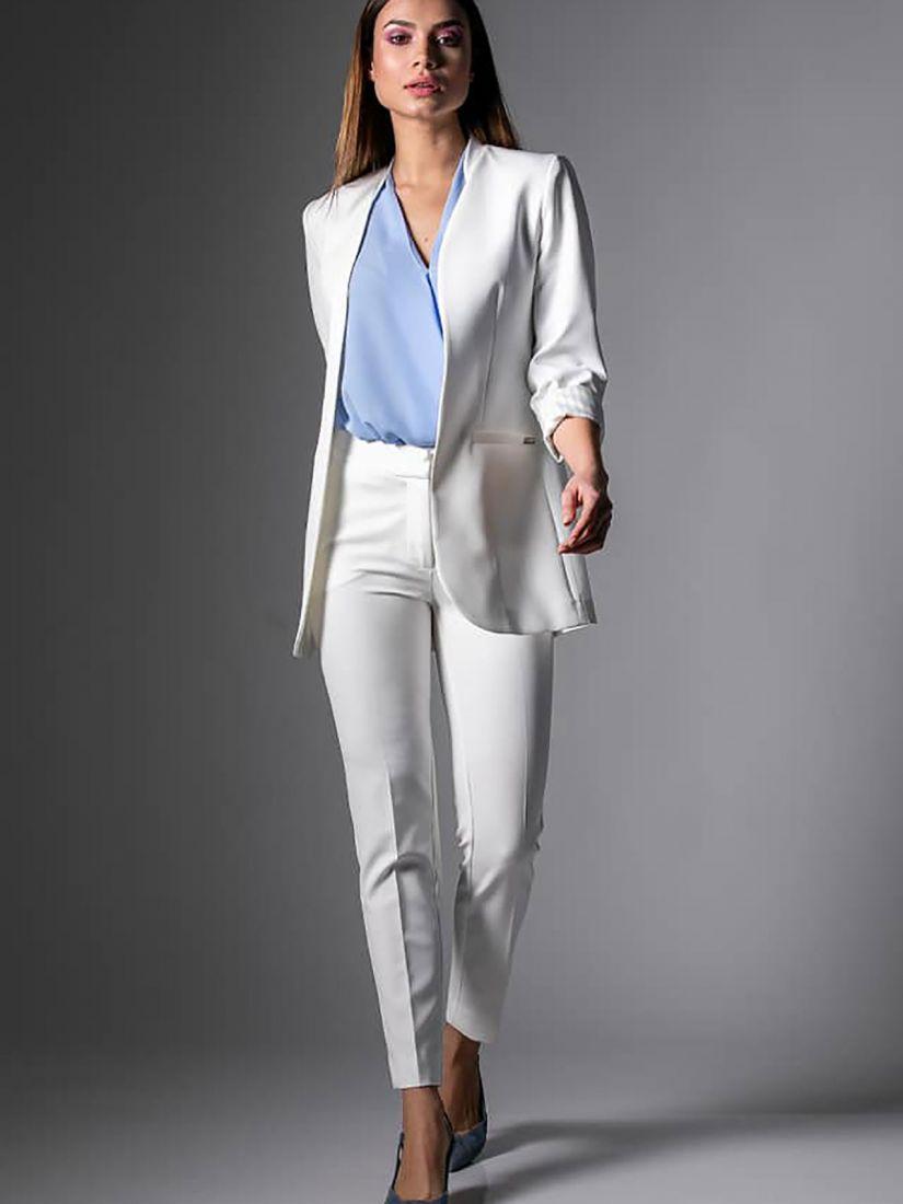Παντελόνι κουστουμιού ελληνικής ραφής με λεπτομέρεια στο ρεβέρ λευκό