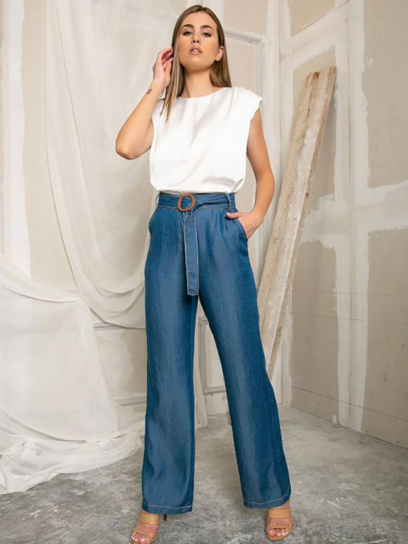 Παντελόνα denim ελληνικής ραφής με τσέπες και ζώνη μπλε