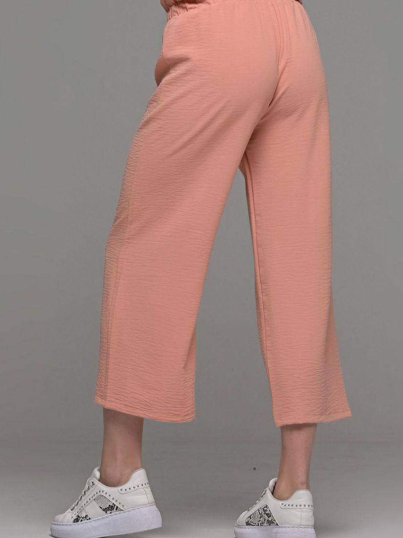 Παντελόνι ζιπ κιλότ ελληνικής ραφής με δέσιμο στη μέση σομόν