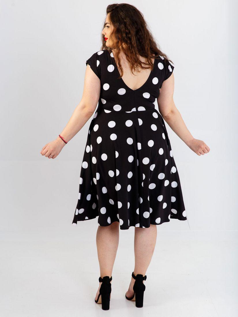Φόρεμα ελληνικής ραφής πουά κλος μαύρο
