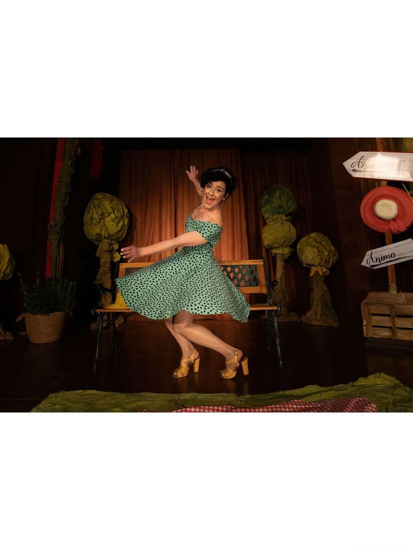 Φόρεμα ελληνικής ραφής πουά κλος πράσινο