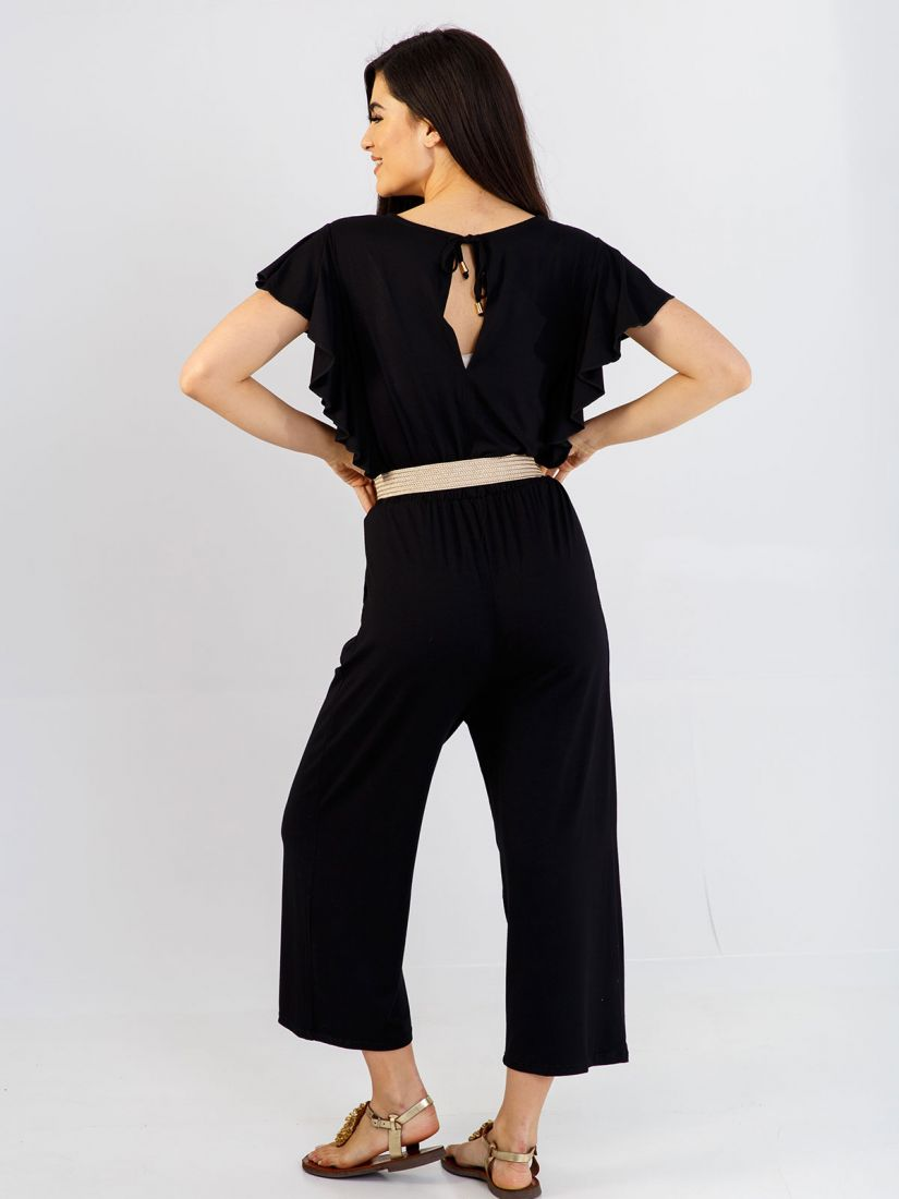 Φόρμα ολόσωμη ζιπ κιλότ ελληνικής ραφής με βολάν μαύρο