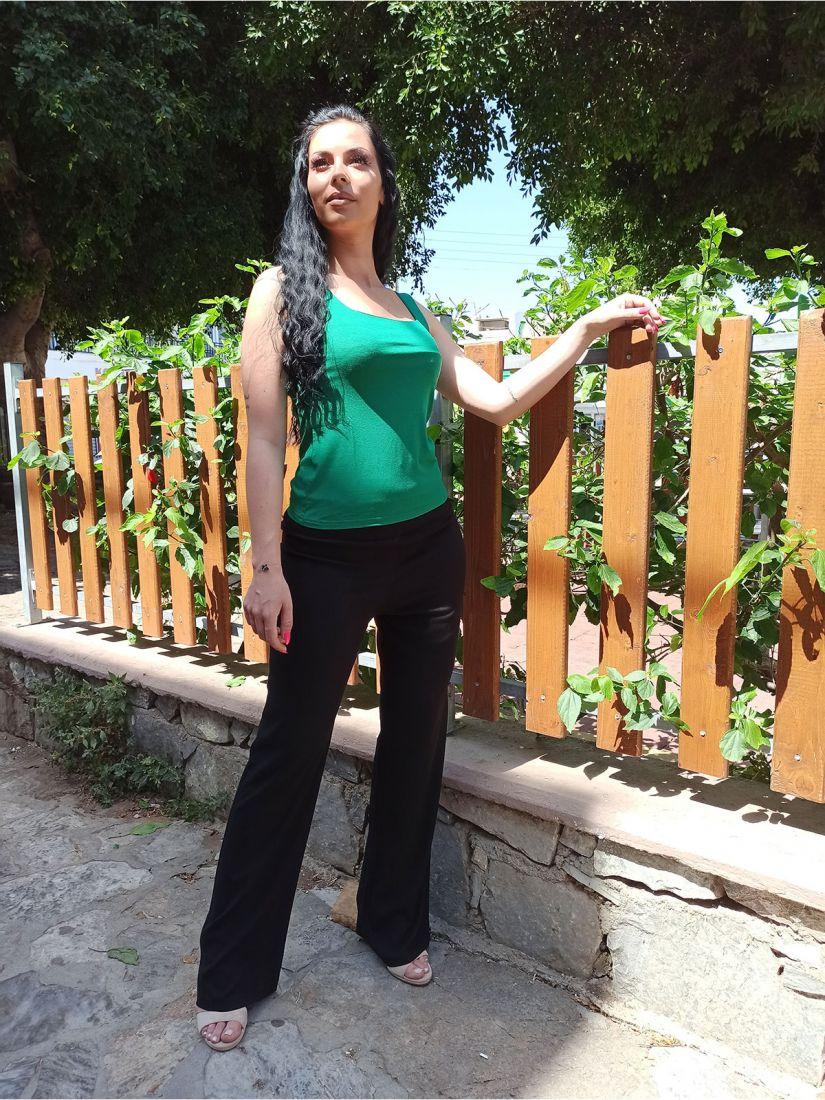 Μπλούζα αμάνικη ελληνικής ραφής μονόχρωμη πράσινο