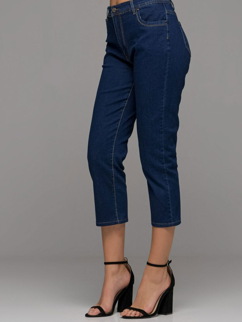 Παντελόνι τζιν κάπρι ελληνικής ραφής με τσέπες μπλε