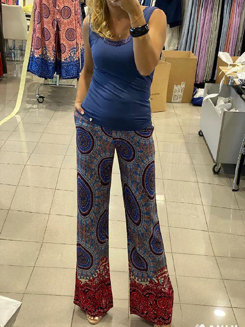 Παντελόνα ελληνικής ραφής εμπριμέ με φερμουάρ στο πλάι μπλε